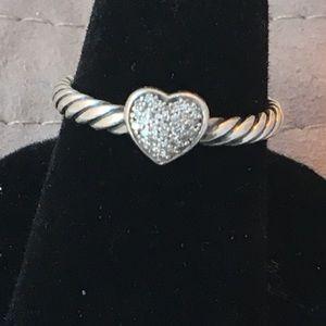 David Yurman Pave Diamond Heart Ring- size 5